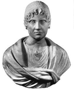 A marble portrait bust of a woman
