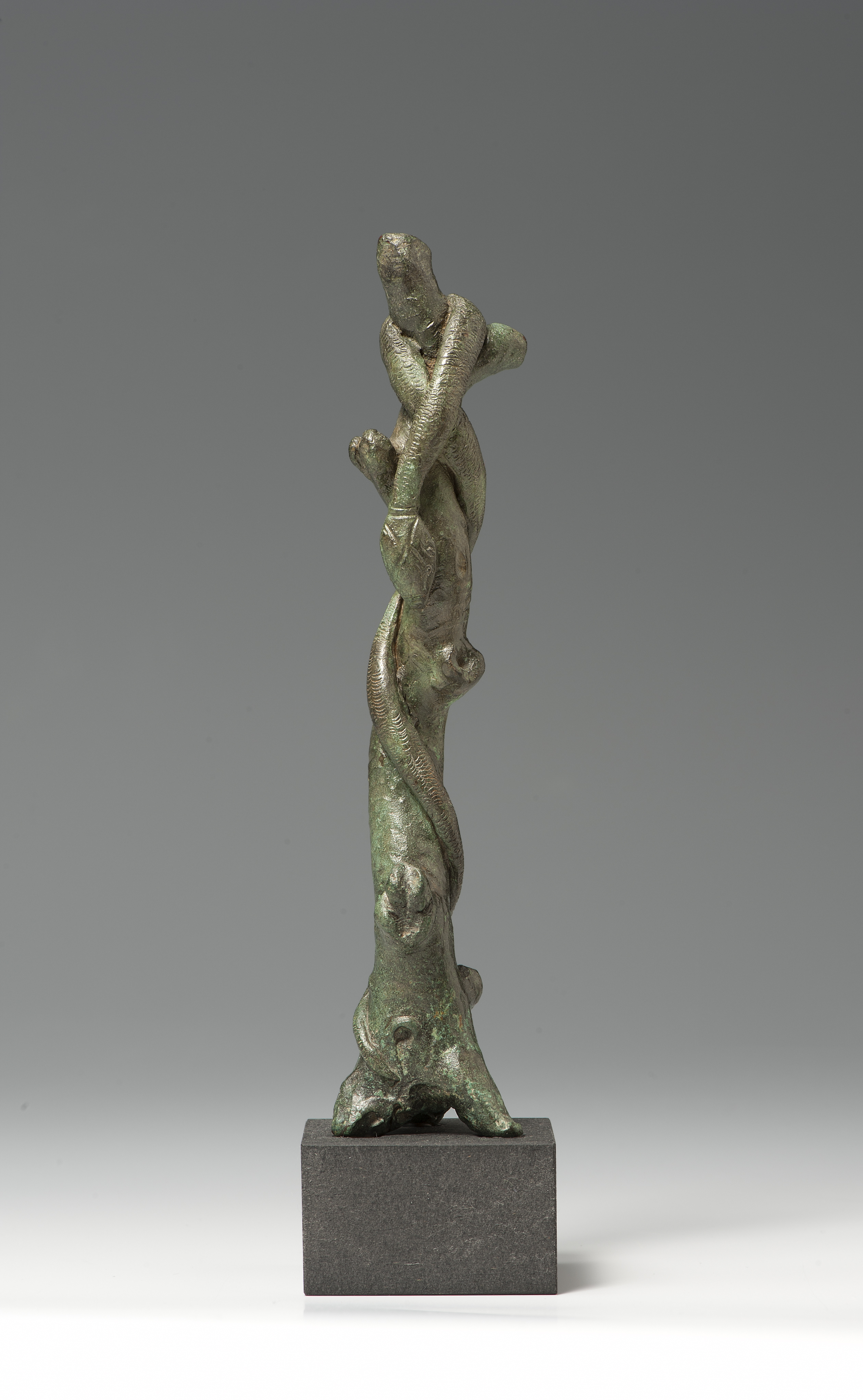 A Bronze Statuette in the Form of a Serpent-entwined Tree