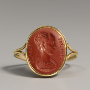 A Red Jasper Intaglio with a Portrait Bust of Justina Severi