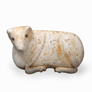 A Mesopotamian Yellow Marble Figure of a Bull