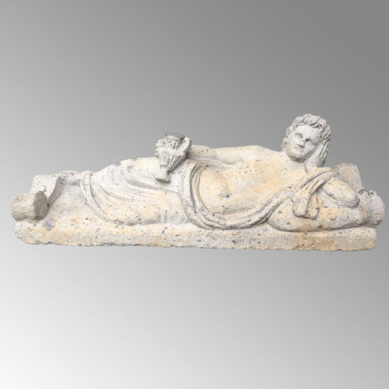 An East Greek Sarcophagus Lid showing a banqueter