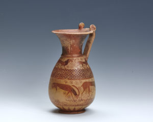 An Etrusco-corinthian oinochoe attributed to the Bearded Sphinx Painter